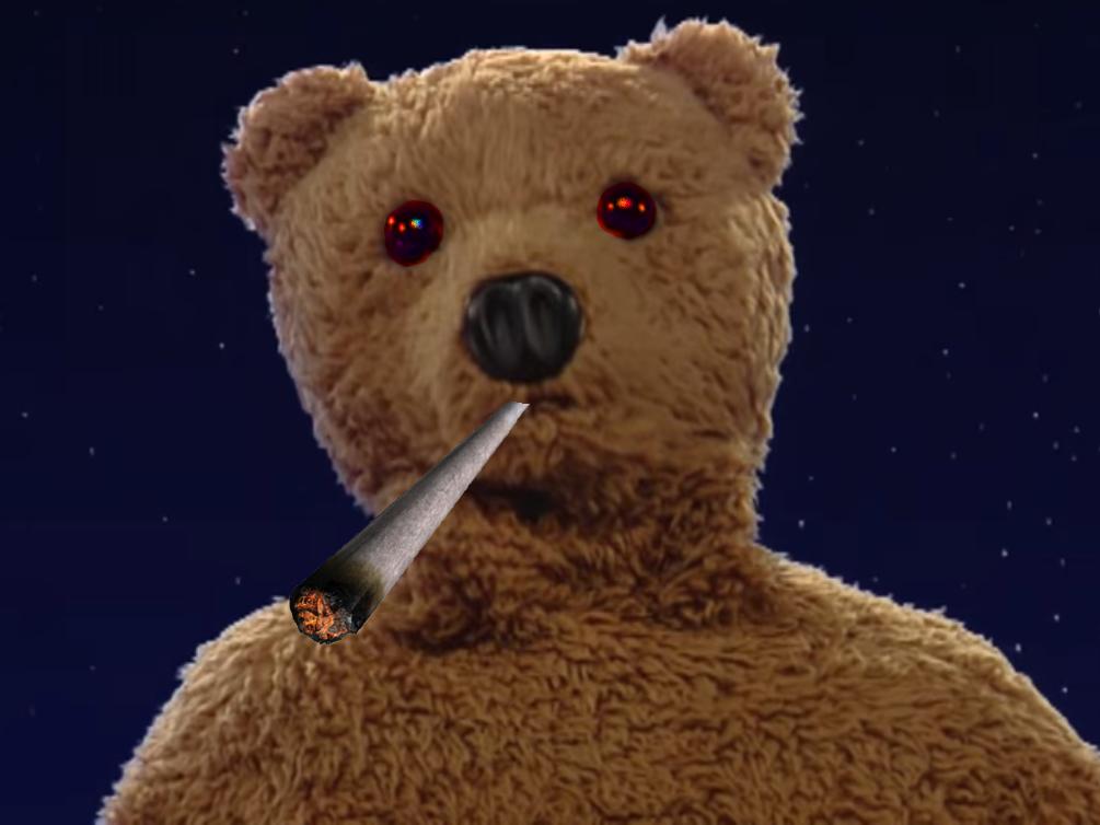 Sticker nounours bonne nuit les petits marchand de sable nicolas pimprenelle ruthveun etonne regarde joint cannabis drogue