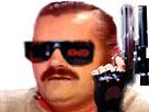 Sticker risitas terminator gun badass izi