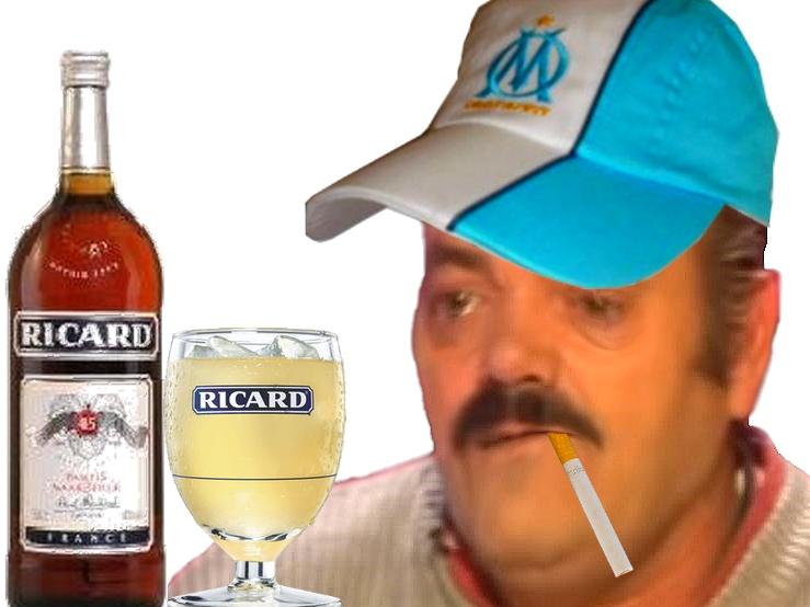 Sticker risitas beauf marsellais pastis 51 ricard alcool claquette ballon foot verre casquette cigarette
