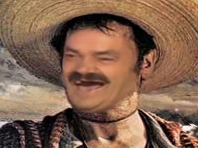 Sticker risitas rire truand western mexicain cowboy clint tuco chapeau sombrero indien voleur bandit tacos