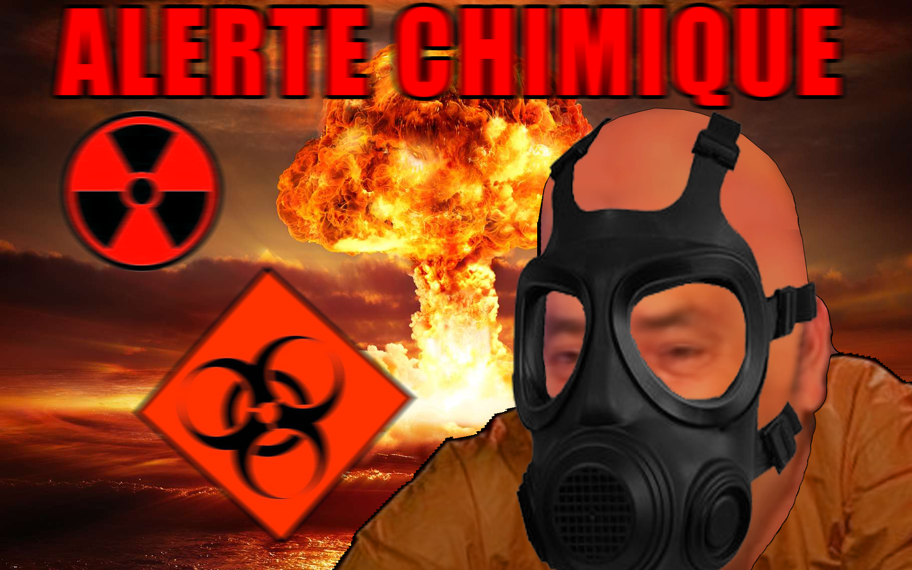 Sticker alerte chimique nucleaire masque gaz hazmat