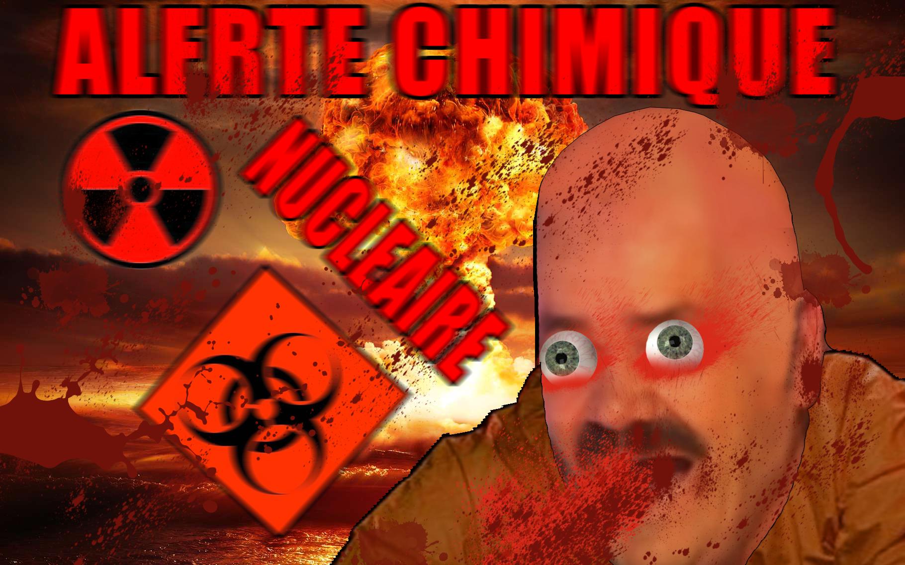 Sticker alerte chimique nucleaire hazmat malade sang