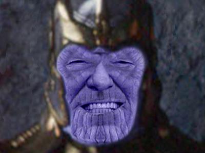 Sticker le pen lepen fn thanos marvel titan geant alien vilain ovni roi soldat armee politique rire avengers galaxie vieux