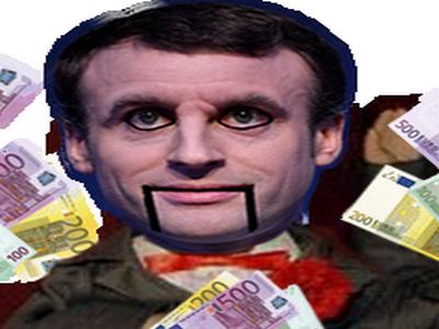 Sticker macron marine argent marche billet riche banquier ps jeu fortune banque finance pret credit main poupee ventriloque