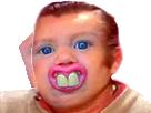Sticker risitas jesus content heureux mongolien trizomique 21 sourire dent