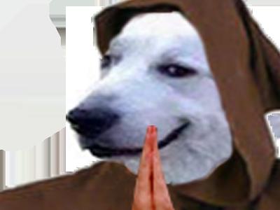 Sticker risitas chien moine pretre prie