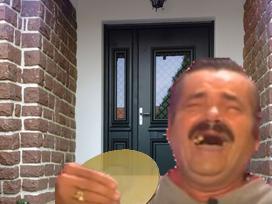 Sticker disque pisse assiette vengeance voisin moqueur porte urine pipi gele rire main
