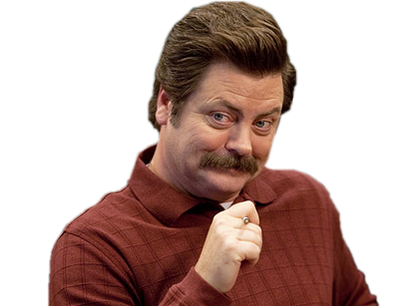 Sticker nick offerman content sourire intrigue