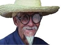 Sticker paysan asiat chapeau paille lunette exdarksasuke sourire