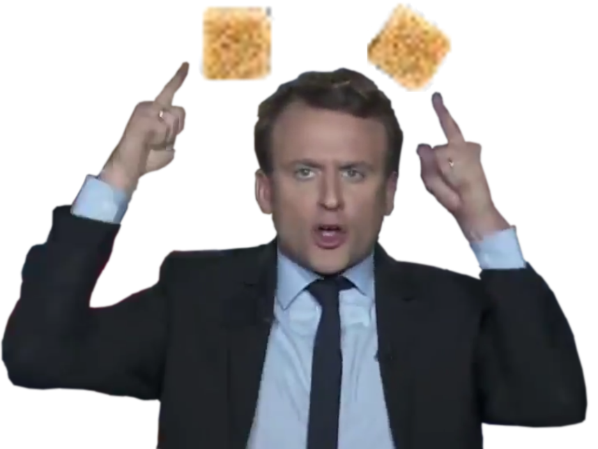 Sticker emmanuel macron deux sucres doigts president banquier en marche