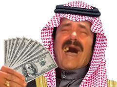 Sticker risitas emir prince arabe fou rire jesus voile islam argent billets liasse rsa