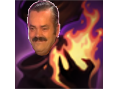 Sticker risitas league of legends lol toucher de feu mortel deathfire touch dft flamme bruler mage noir sombre pyromane capuche magie sorcellerie