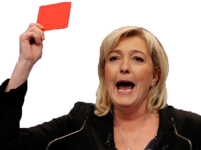 Sticker politic marine le pen carton rouge front national fn politique