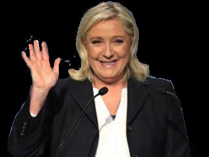 Sticker politic marine le pen riarde rire rit sourire main front national fn politique