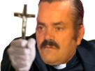 Sticker risitas pretre croix dieu jesus demon