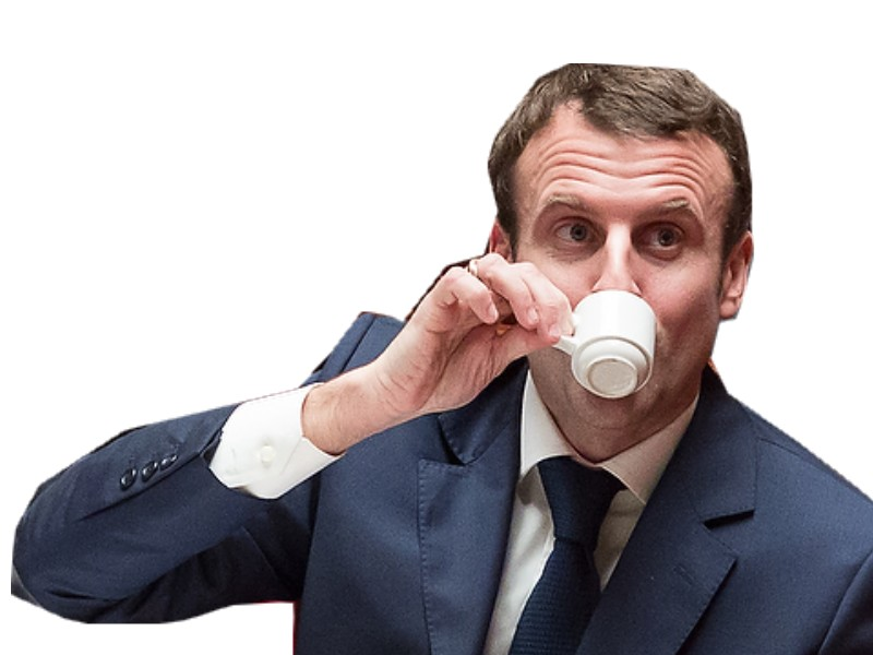 Sticker politic macron petit cafe