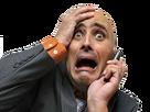 Sticker other homme chauve cri sueur stress effroi peur terrifie surpris telephone sarcasme ironie moqueur