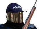 Sticker brindille faible risitas jesus petit bras police gendarme arme