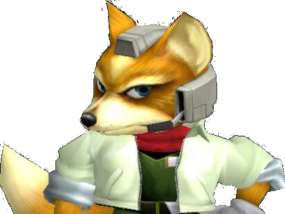 Sticker other starfox fox mc cloud super smash bros melee ssbm gc salut okay bras main militaire serieux regard approuve renard furry zoom