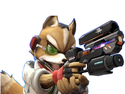 Sticker other starfox fox mc cloud super smash bros brawl ssbb wii attaque agressif enerve vener nrv pistolet laser flingue suicidez le renard furry viseur zoom