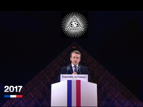 Sticker politic macron illuminati oeil pyramide