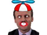 Sticker politic macron bebe enfant hollande