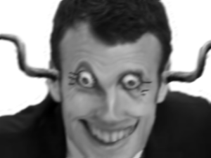 Sticker politic macron diabolique peur horrible zoom