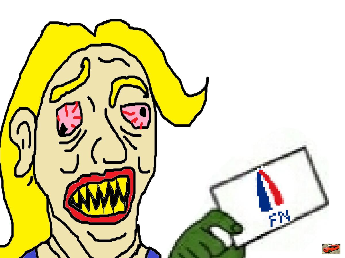 Sticker politic vote fn vote de merde con pigeon facho pls debile corbillard tison