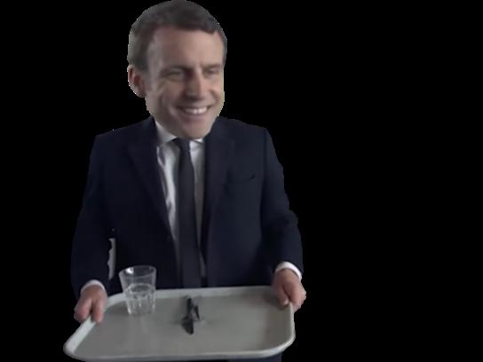 Sticker politic macron cantine cordon bleu self plateau repas