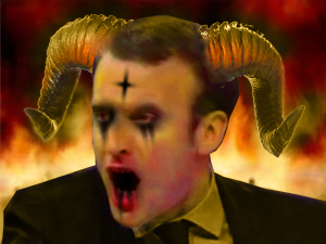 Sticker other macron sheitan diable demon satan belsebuth lucifer enfer feu