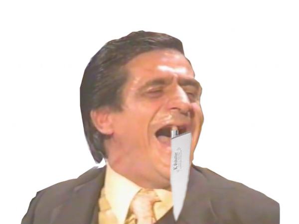 Sticker dent couteau risitas jesus arme assassin meurtre