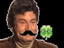 Sticker jesus quintero risitas jvc sourire rire moqueur hap moustache la chance trefle
