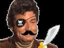 Sticker jesus quintero risitas jvc sourire rire moqueur hap pirate moustache cache oeil epee