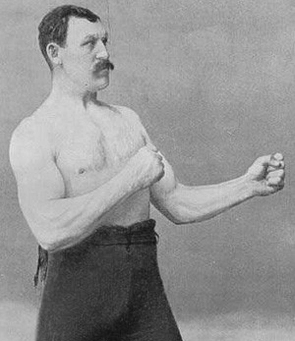 Sticker risitas boxeur babtou solide oldschool coup ko boxe droite crochet combat gauche moustache