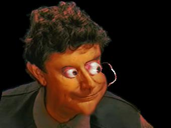 Sticker jesus quintero horreur gros yeux orbite globuleux monstre difforme diabolique sourire creepy peur orange