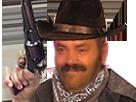 Sticker risitas cowboy flingue chapeau