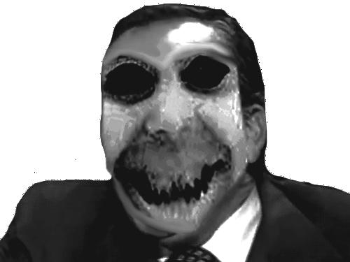 Sticker risitas monstre noir blanc horreur creepy peur nuit
