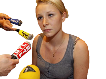 Sticker politic marion marechal le pen desemparee triste front national fn politique micro microphone interview