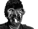 Sticker risitas jesus monstre horrible peur creepy noir blanc