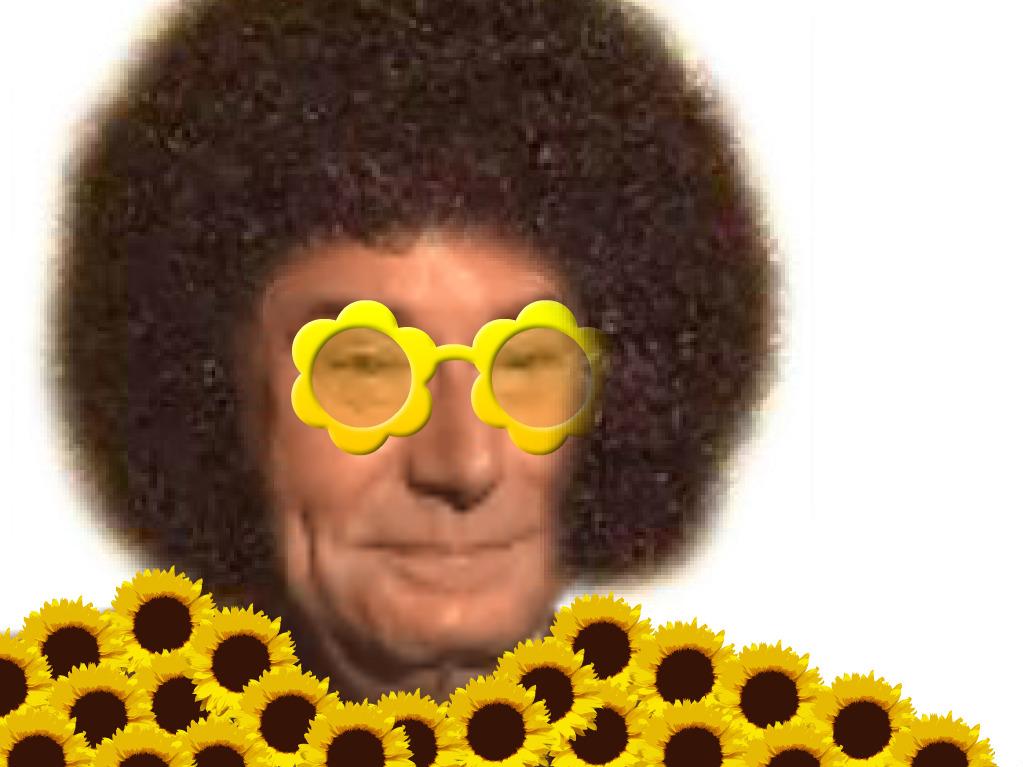 Sticker risitas jesus quintero jvc sourire rigole moque hap content costard hippie hipster disco afro lunettes fleurs 70