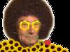 Sticker risitas jesus quintero jvc sourire rigole moque hap content costard hippie hipster disco afro lunettes fleurs rose rouge 70