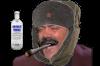 Sticker risitas jvc rire dent costard russe russie chapka urss moustache joint vodka