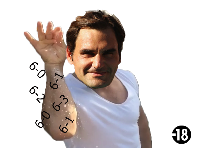 Sticker risitas federer tennis chancla