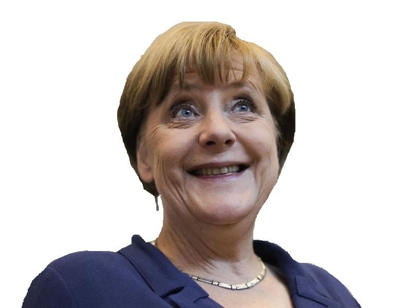 Sticker politic merkel sourire rire allemagne