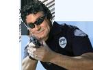 Sticker risitas jesus police flic flics gun pistolet flingue