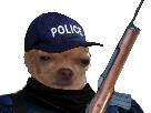 Sticker risitas chien police circulez