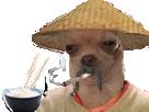 Sticker risitas chien chinois fume