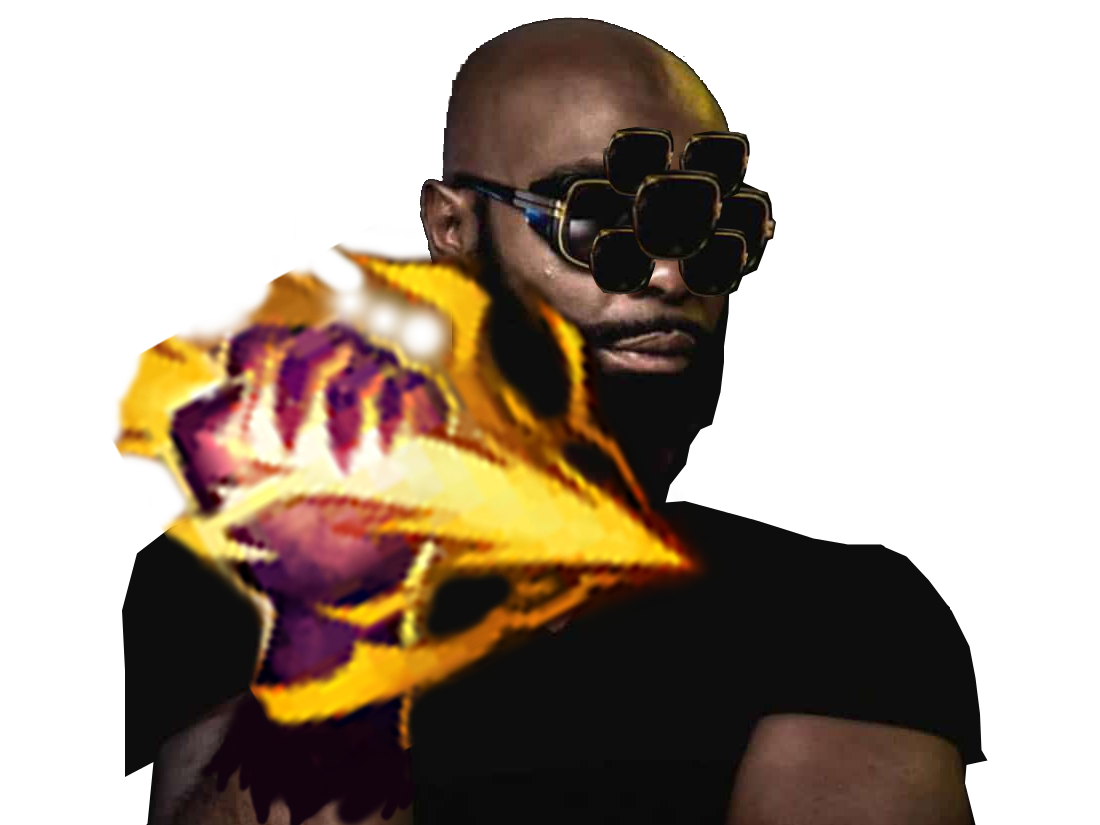 Sticker other kaaris rappeur puteuh black noir tshirt doigt bras lunettes soleil sunglasses barbe beubar bebar smite chatiment league of legends lol mmorpg moba maitre master yi champion tinnova