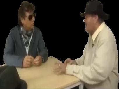 Sticker table risitas jesus restaurant assis chaise parler discution