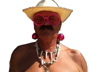 Sticker risitas chapeau plage lunette boucle collier travesti travelo shemale